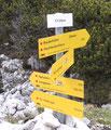 ... erreichten wir nach geraumer Zeit die Abzweigung Richtung Großer Höllkogel und Rieder Hütte. Wir wanderten rechts auf Weg Nr. 820 ...