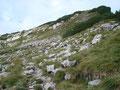 Rechts vorbei an der Sessellift-Bergstation stiegen wir den felsigen Steig Nr. 256 weiter bergan und …