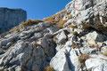 Aufgrund des brüchigen Gesteins musste man seine Tritte überlegt und Trittsicher setzen. Ein erfahrener Berggeher sollte hier aber dennoch kein Problem haben.