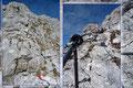 Zuerst entlang der gut versicherten Felsbänder, die dennoch etwas Trittsicherheit und Schwindelfreiheit verlangten, erreicht man schlussendlich geröllige nach oben ziehende Kehren, …
