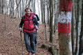"""""""Grinsekatze Rudi"""" und ich waren den beiden anderen, Margit und Wolfgang, immer dicht auf den Fersen. Es wäre zudem sehr schwer gewesen sich bei diesen vielen Markierungen zu verlaufen im lichten Bergwald."""