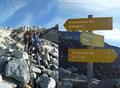 Eine weitere Weggabelung auf dem Weg zum Gipfel war erreicht. Dem linken Steig folgend könnte man hier das 3086m hohe Säuleck besteigen. Doch unsere Gruppe schlug weiter den Weg Nr. 519 nach rechts zur Winkelscharte ein.