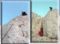 """Mit klettertechnischem Geschick und der notwendigen Trittsicherheit kletterten wir  den bestens versicherten """"Hüttenklettersteig""""  über die obere Schlüsselstelle zum kleinen darunter liegenden Felsvorsprung."""