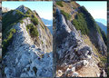 …  weitere Drahtseile, jetzt auf der Nordseite über Felsstufen in eine kleine Scharte hinunter halfen. Aus dieser heraus wechselte der Steig erneut in die Südseite der Berges.