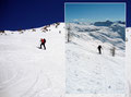 Das Gelände steilte neuerlich an. Mit energischem Stockeinsatz stieg jeder einzelne von Bergvirus infizierte unserer Schneeschuh-Karawane, entlang der vorgegebenen Kehren durch die Bergflanke höher.