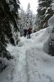 Am Ende des kontinuierlich ansteilenden Waldhanges folgte letztendlich der Ausstieg zum, vom Klapfboden herüberziehenden markierten 633a ÖAV-Wanderweg.