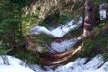 Doch jetzt war Endstation mit unseren Schneeschuhen! Sie wurden abgeschnallt und wiederum am Rucksack befestigt. Richtig ungewohnt waren die ersten Schritte ohne die Dinger an den Füßen.