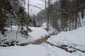 Am unteren Ende der Rinne, bei der Querung des Baches am hinteren Ende des Talschlusses kreuzte unsere Schneeschuhtruppe wiederum den Anstiegsweg, …