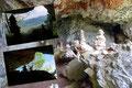Ziemlich in der Mitte des mühsamen Anstiegs leiteten Steigspuren mit verwahrlosten Versicherungen zu einer Höhle. Ein Meer aus Steinmännchen begrüßte beim Eingang. Ein durchaus lohnenswerter kurzer Abstecher!