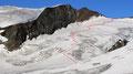 … die weitere Anstiegsroute durch die Spaltenzone bis hin zur Schneewinkelscharte aufs Genaueste.