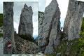 """Geschickt, mit etwas zu Hilfenahme der Hände wurde dieser erste Steilaufschwung äußerst rasch überwunden, an welchem oberhalb ein """"Felsentor"""" zwischen Hechelsteinmassiv und einer Felsnadel mitunter jetzt unsere Blicke auf sich zog."""