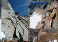 … sich der Einstieg des Klettersteiges (C) befand. Hier begann der fast durchgehend versicherte und teilweise anstrengende Teil der Route. Zuerst steil nach oben, dann …
