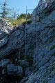 Für die nötige Abwechslung zwischendurch sorgten leichte Klettersteigeinlagen, wie hier eine kurze Leiter.