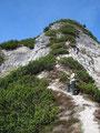 Die zweite Schlüsselstelle, eine seilversicherte Felsstufe am sogenannten Greißhörndl war in Sichtweite.