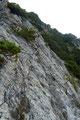 """… einmal rechts der bestens mit Drahtseilen und Trittstiften versicherten Schneid in östliche Richtung dem Gipfel des """"Einsamen Riesen"""" entgegen."""