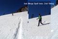 """Kaum zu überbietenden Spaß! Der Steilhang bot einfach ideale Verhältnisse fürs sogenannte Schneeschuh -""""Teleskiing"""". Natürlich landete der Eine oder Andere auch einmal mit dem Hintern im Schnee. Was soll's – gehört dazu!"""