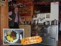 """In der urigen Hütte wurden wir sofort vom Hüttenwirt Franz und seiner freundlichen Gehilfin """"Herzlich Willkommen"""" geheißen. Im Anschluss daran durften wir uns an den Schmankerln aus der """"Showcooking""""-Küche erfreuen. EINFACH NUR LECKER!!!"""