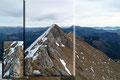… plötzlich drängte sich auch schon der geschmückte Gipfel ins Panorama. Ein etwa 50m schmaler Grat trennten mich jetzt noch vom Gipfelglück. Hier wird einem mit Sicherheit etwas Schwindelfreiheit und Trittsicherheit abverlangt.