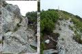 … welcher letztendlich über eine erneute kurze mit Seilen und Trittstiften versicherten Stelle zum hölzernen Gipfelkreuz des Rinnkogels hinaufführte.