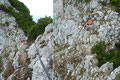 Rasch war auch die nächste Erhebung überwandert und Drahtseile erleichterten den erneuten kurzen Abstieg bzw. Anstieg.