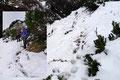 Der Föhnsturm setzte jetzt mitunter der Schneebeschaffenheit ziemlich zu. Der steile Abstieg ab der kleinen Scharte gestaltete sich demzufolge als überaus rutschig. Äußerste Vorschicht war angesagt!