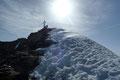 … Westgrat, dem  ich zu guter Letzt über ein kleines Firnfeld zum höchsten Punkt des Großen Wiesbachhorns …