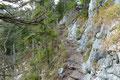 Der schmaler werdende Steig führte eine Felswand entlang. In diesem Teilstück war Trittsicherheit und etwas Schwindelfreiheit sicher nötig, aber ansonsten problemlos zu meistern!