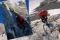 """… den, angeblich lt. Hüttenwirt mit """"C"""" klassifizierten (nicht offiziell!) Trainingsklettersteig  der Hütte auf die Schreiberwand auskundschaften.  Selbstverständlich mit Klettersteigset und Helm stiegen wir über die erste Felsstufe (A/B) auf."""