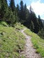 Von der Hütte aus ging es weiter auf einem gut angelegten, leicht ansteigenden Steig über den Westkamm bergwärts.