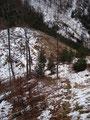 … nochmals kurz bergab in die sogenannte Blaulucke (1110m).