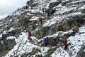 Eine Gruppe von Wanderern kam uns bei der nächsten gesicherten Passage entgegen. Wir suchten eine geeignete Ausweichmöglichkeit und beobachteten sie aufs Genaueste beim kontrollierten Abstieg.