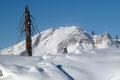 … weiter im Uhrzeigersinn, das 2027m hohe Gamsfeld im Nordwesten. Man konnte sehr gut beobachten wie die Windböen die Schneekristalle in dessen Südwestflanke verfrachteten.