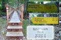 Schlussendlich endete die Forststraße im Wald bei einem hölzernen Steg. Ich passierte ihn, schloss das Gatterl auf der anderen Seite und stand plötzlich im Bereich der Schöffaualm vor der Entscheidung: Rettenkogel oder Rettenkogel über Bergwerkskogel???