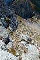 Nach einer gemütlichen Gipfelrast suchte ich mir den nächstbesten Weg über das lose Gestein talwärts. Mit etwas Bergerfahrung und Geschick stellte dies kein größeres Problem dar.