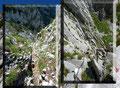 Anfangs relativ einfach durch Latschengassen leicht bergab gelangt man nach wenigen Minuten zu einer Felsflanke, die mittels Drahtseil zur kleinen Gaiskarscharte zwischen Donnerkogel und Steinriesenkogel hinab überwunden wird.