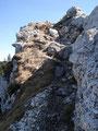 """Der einzige """"schwarz markierte Teil"""" des Steiges, eine ca. 10 Meter lange, gut gesicherte Felspassage war schnell überwunden ..."""