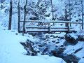 Der tiefverschneiten Forststraße folgend zweigen wir rechts über eine kleine Holzbrücke auf Weg 436A ab