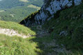 … zu einer steilen, grasigen Rinne hinunter.
