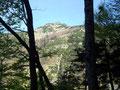 Der Wald lichtete sich zwischendurch ein wenig und wir konnten einen Blick auf eine Schlüsselstelle der heutigen Bergtour werfen, das seilversicherte Geißhörndl.