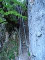 ....... und weiter über eine Leiter. Steil empor führt mich der Weg über einen Bergrücken in einen 100m tieferliegenden Kessel.