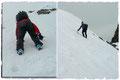 ... unsere (blaue) sehr steile Aufstiegsroute. Nur bei absolut sicheren Verhältnisse machbar!