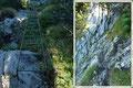 Von den Wänden des Rotgschirrs im obersten Teil, zog sich der Steigverlauf zu den steilen Passagen hinunter, welche mittels Drahtseilversicherungen, Leitern, …