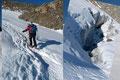 Den wenigen im Aufstieg befindlichen Gletscherspalten des Niederjochferners wurden bilderbuchmäßig im Zickzack-Kurs ausgewichen.