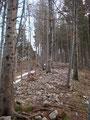 Oben angekommen folgten wir dem hier sehr steinigen aber breiten Bergrücken.