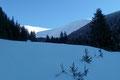 … im Bereich einer kleinen Almlichtung eröffnete sich erstmals ein Blick auf unsere beiden Gipfelziele Amachkogel (2312m) und rechts davon das Kesseleck (2308m).Vom beeindruckenden Panoramablick beflügelt, …