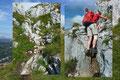 """Mit geschickter leichter Kletterei wurden so manche Felsbänder und Felsgänge auf dem Weg nach oben überwunden. Zum Nachteil für unsere """"Kleinen""""!"""