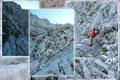 Die darauffolgenden steilen Felspassagen waren bestens mit Drahtseilen versichert. Diese erleichterten den Aufstieg ungemein, nur bei trockenem Wetter waren sie nicht zwingend notwendig.