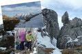 Nach Abschluss des obligatorischen Gipfel-Fotoshootings traten wir schleunigst den Abstieg zurück zur Felsnische an.  JAUSENPAUSE! Wir tauschen unsere Köstlichkeiten und erwärmten uns mit Tee.