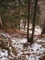 Weiter ging es steil bergab. Das Problem hier war eher der Schnee, er mache das Ganze ziemlich rutschig. Man musste schon jeden Schritt sicher setzen.