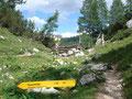 ... bis wir wieder bei der Abzweigung Leistalmhütte/Grazerhütte angekommen waren.